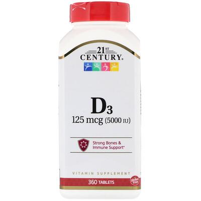 Купить 21st Century Витамин D3, 125мкг (5000МЕ), 360таблеток