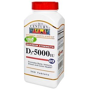 21st Century, Витамин D3, 5000 МЕ, 360 таблеток