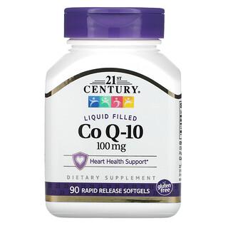 21st Century, كبسولات الإنزيم المساعد Q-10 المعبأة بسائل، 100 ملجم، 90 كبسولة هلامية سريعة الإطلاق