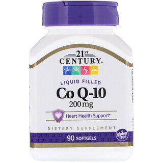 21st Century, Коэнзим Q-10, 200 мг, 90 гелевых капсул