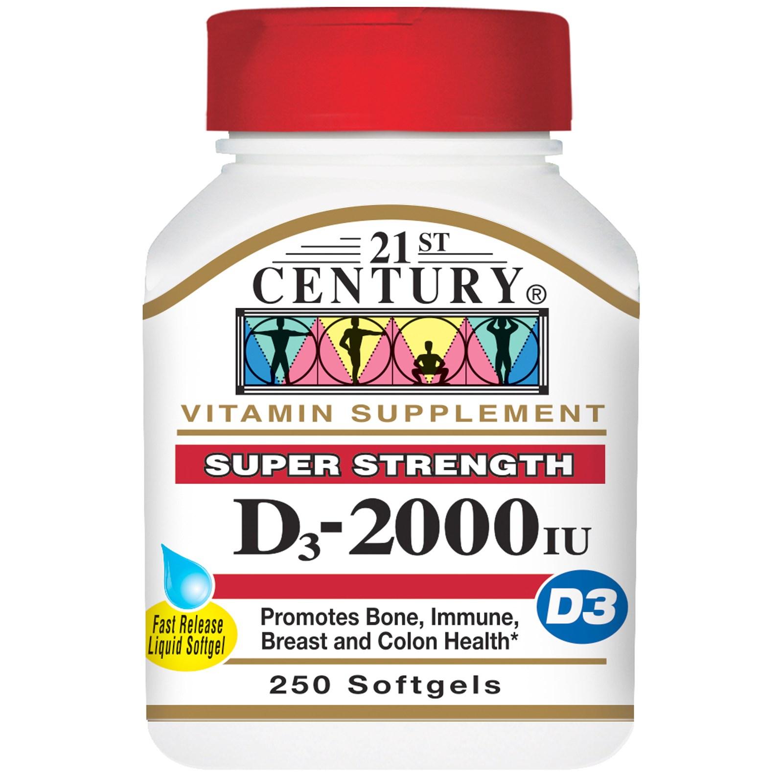 21st Century, Витамин D3, 2000 МЕ, 250 жидких мягких таблеток