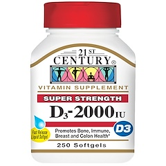 21st Century, Vitamin D3, 2000 IU, 250 Liquid Softgels