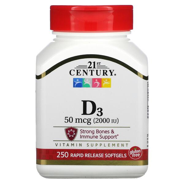 21st Century, Vitamin D3, 50 mcg (2,000 IU), 250 Softgels