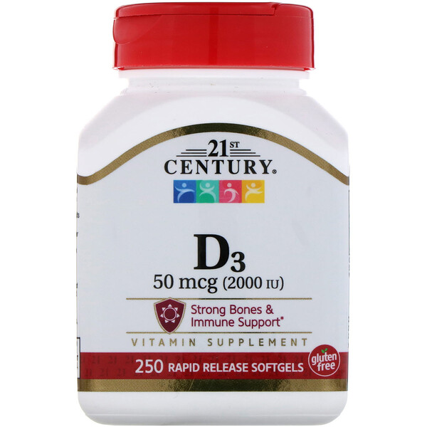 21st Century, Vitamin D3, 50 mcg (2,000 IU), 250 Liquid Softgels