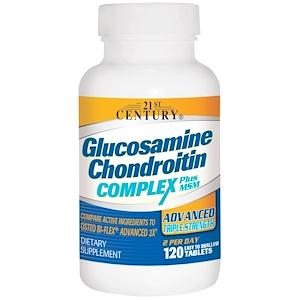 21st Century, Комплекс глюкозамина и хондроитина плюс МСМ, улучшенная тройная сила, 120 таблеток