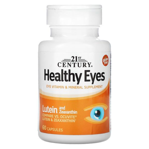 21st Century, средство для здоровья глаз, лютеин и зеаксантин, 60капсул