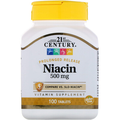 Купить Ниацин, пролонгированное высвобождение, 500 мг, 100 таблеток
