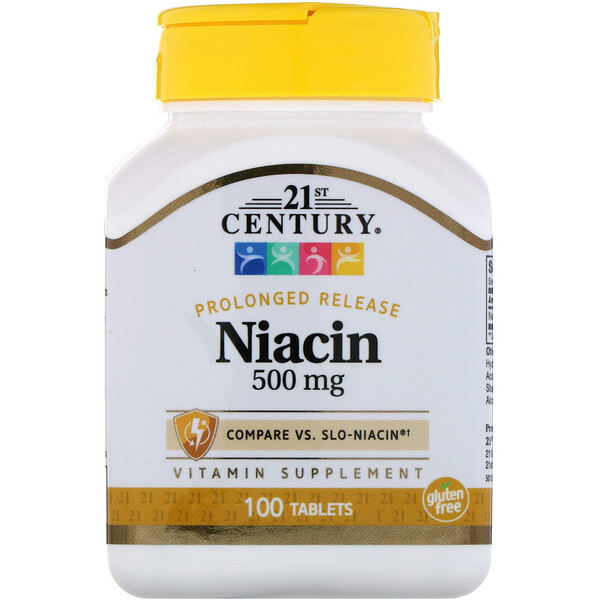 21st Century, Niacin, Prolonged Release, 500 mg, 100 Tablets