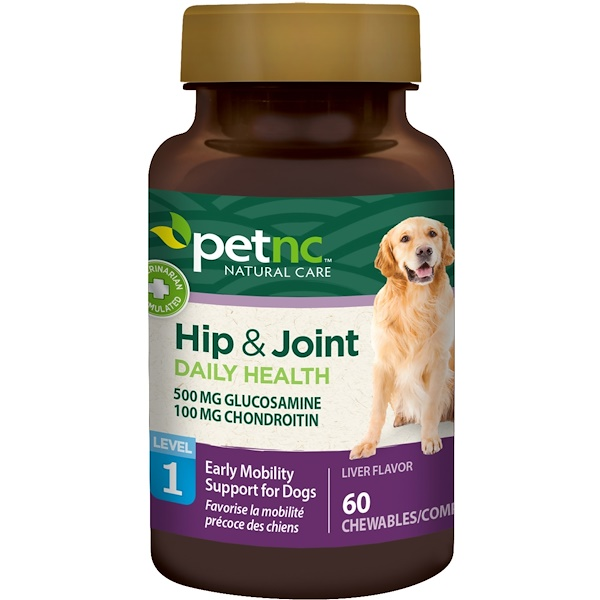petnc NATURAL CARE, Hip & Joint, Level 1, Liver Flavor, 60 Chewables