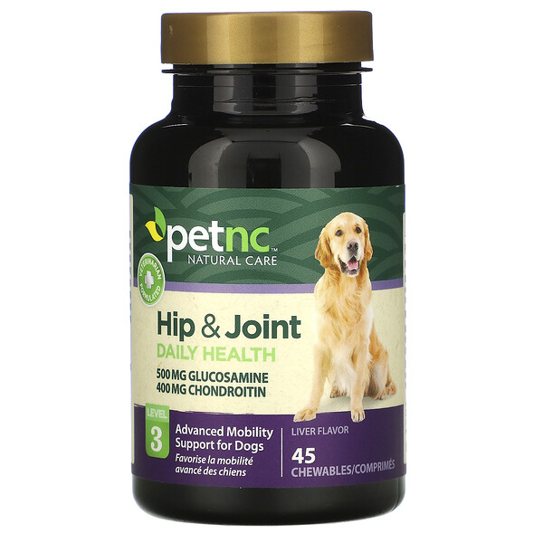petnc NATURAL CARE, Hip & Joint, Level 3, Liver Flavor, 45 Chewables