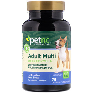 petnc NATURAL CARE, Adult Multi Daily Formula, Liver Flavor, 75 Chewables