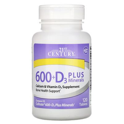 21st Century 600+D3 с минералами, 120 таблеток  - купить со скидкой