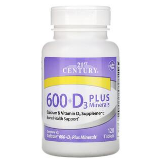 21st Century, 600+فيتامين د3 المعزز بالمعادن، 120 قرصًا