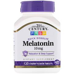 21st Century, Melatonin, Cherry Flavor, 10 mg, 120 Quick Dissolve Tablets