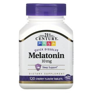 21st Century, Quick Dissolve Melatonin, Cherry Flavor, 10 mg, 120 Tablets