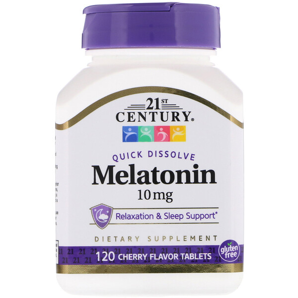 Melatonin, Cherry Flavor, 10 mg, 120 Quick Dissolve Tablets