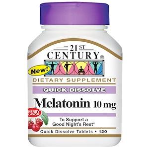 21st Century, Мелатонин, вишневый вкус, 10 мг, 120 быстрорастворимых таблеток