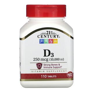 21st Century, فيتامين د3، 250 مكجم (10,000 وحدة دولية)، 110 قرص