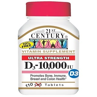 21st Century, D3, 10,000 IU, 110 Tablets