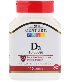 21st Century, Vitamina D3, 10.000 UI, 110 Tabletas