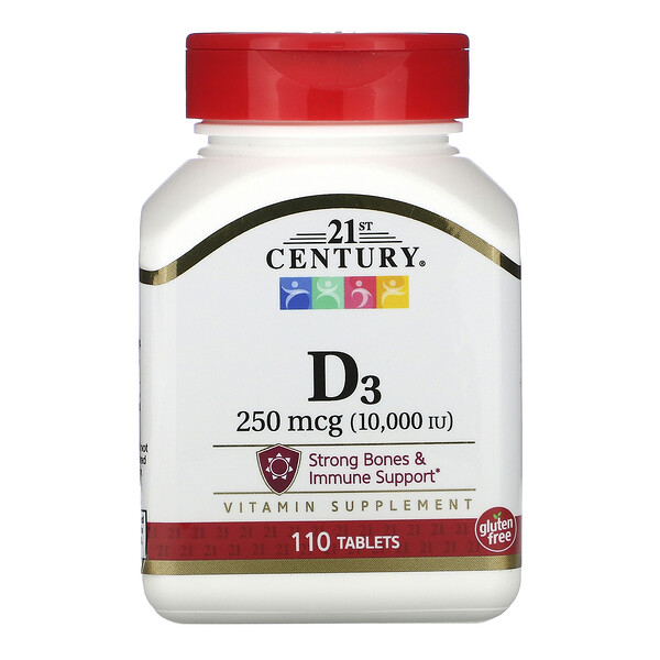 Vitamin D3, 250 mcg (10,000 IU), 110 Tablets