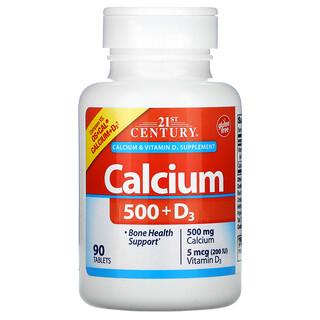 21st Century, 칼슘 500 + D3, 5mcg(200IU), 90정