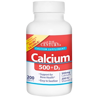 21st Century, Calcium 500 + D3, 200 Tablets