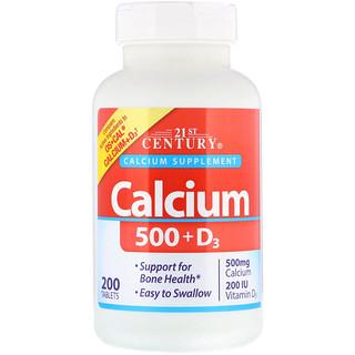 21st Century, Calcium 500 + D3, 200 Tablets