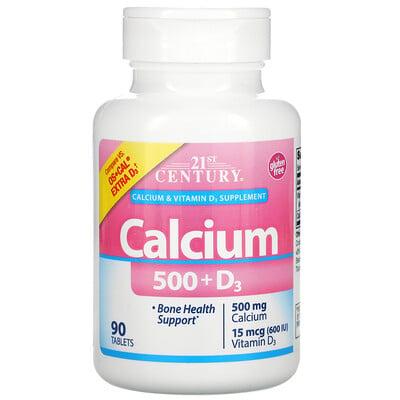21st Century кальций 500 и витаминD3, 500мг/15мкг (600МЕ), 90таблеток