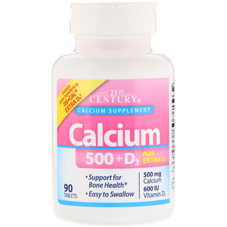 21st Century, Calcium 500 + D3 Plus Extra D3, 90 Tablets