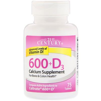 600+D3, Calcium Supplement, 75 Tablets dokkan abura das 180 tablets super herb detox enzyme diet support supplement