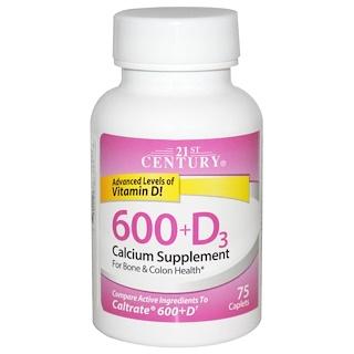 21st Century, 600 + D3, добавка с кальцием, 75 капсуловидных таблеток