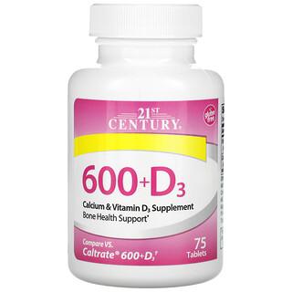21st Century, 600+D3, 칼슘 & 비타민D3 보충제, 75정