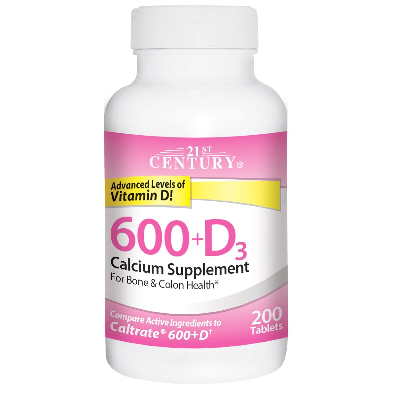 21st Century, 600+D3, кальциевая добавка, 200 таблеток