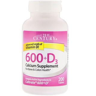 21st Century, 600+D3, Calcium Supplement, 200 Tablets