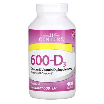 21st Century 600+D3, добавка с кальцием и витаминомD3, 400таблеток