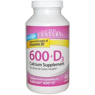 21st Century, 600+D3, Calcium Supplement, 400 Caplets