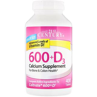 21st Century, 600+D3, Calcium Supplement, 400 Caplets