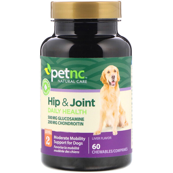 petnc NATURAL CARE, Hip & Joint, Level 2, Liver Flavor, 60 Chewables