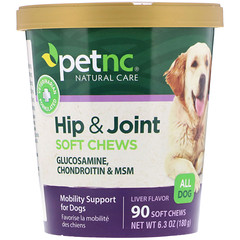 petnc NATURAL CARE, Cuidados naturais do seu animal de estimação, Quadris e articulações, Sabor de fígado, Todos os tipos de cães, 90 pastilhas macias mastigáveis