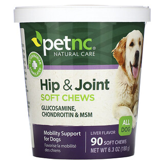 petnc NATURAL CARE, Hip & Joint, All Dog, Liver, 90 Soft Chews