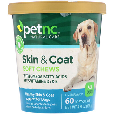 Естественный уход за домашними животными, кожа и шерсть, вкус печени, для всех собак, 60 жевательных пастилок природная забота о питомцах пивные дрожжи печень вкус печени 250 жевательных резинок