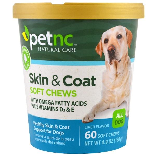Pet Natural Care, 寵物自然護理,皮毛,肝臟風味,所有的狗,60份軟咀嚼物