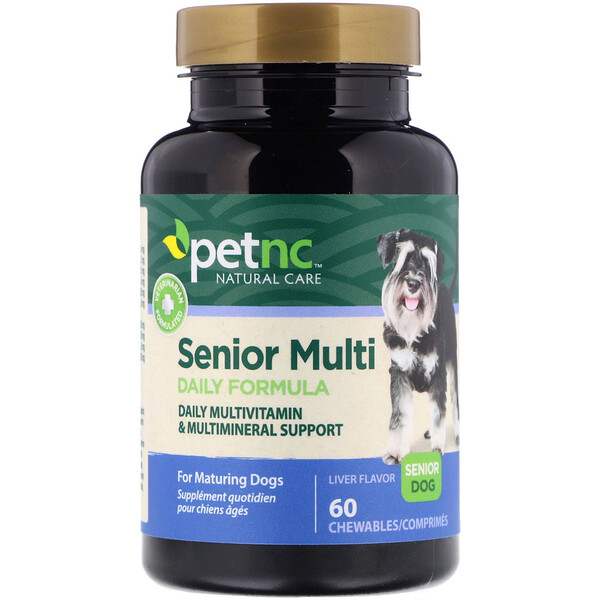 petnc NATURAL CARE, Pet Natural Care, Senior Multi tägliche Formel, Senior-Hund, Lebergeschmack, 60 Kaustücke