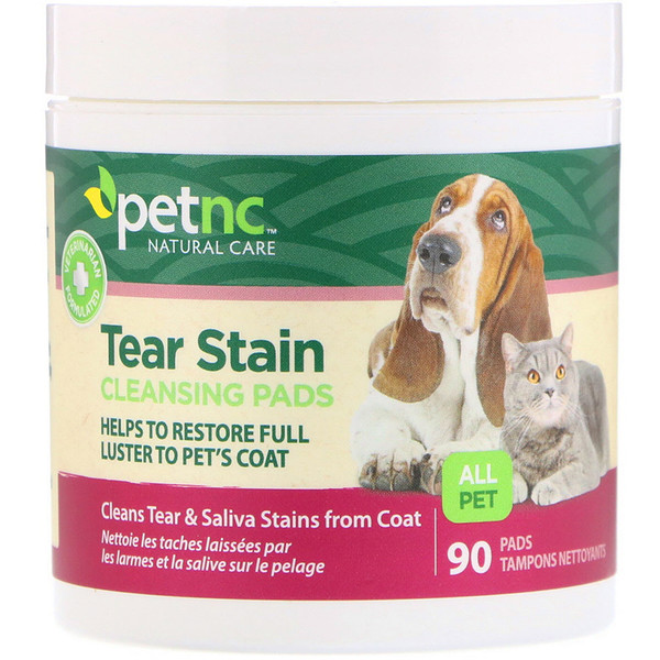 petnc NATURAL CARE, Tear Stain Cleansing Pads, For Cats & Dogs, 90 Pads