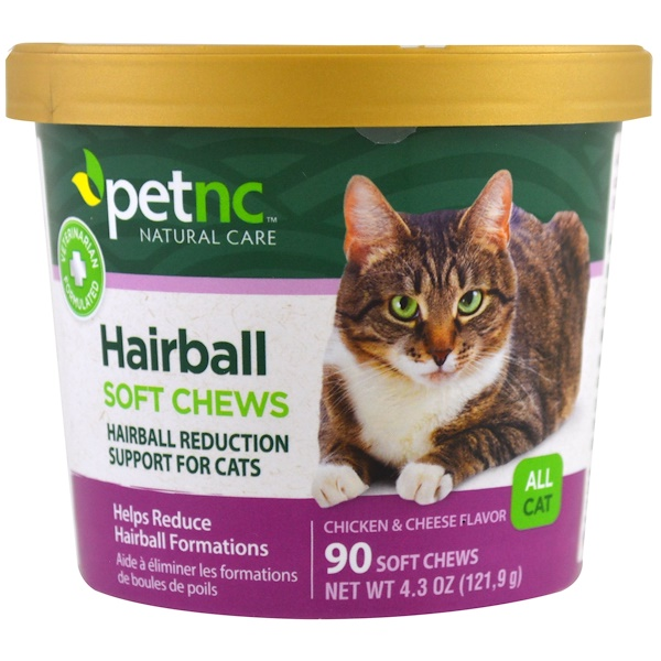 21st Century, Pet Natural Care, Hairball Soft Chews, All Cat, Chicken & Cheese Flavor, 90 Soft Chews