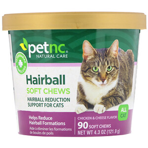 petnc NATURAL CARE, Hairball Soft Chews, All Cat, Chicken & Cheese Flavor, 90 Soft Chews отзывы