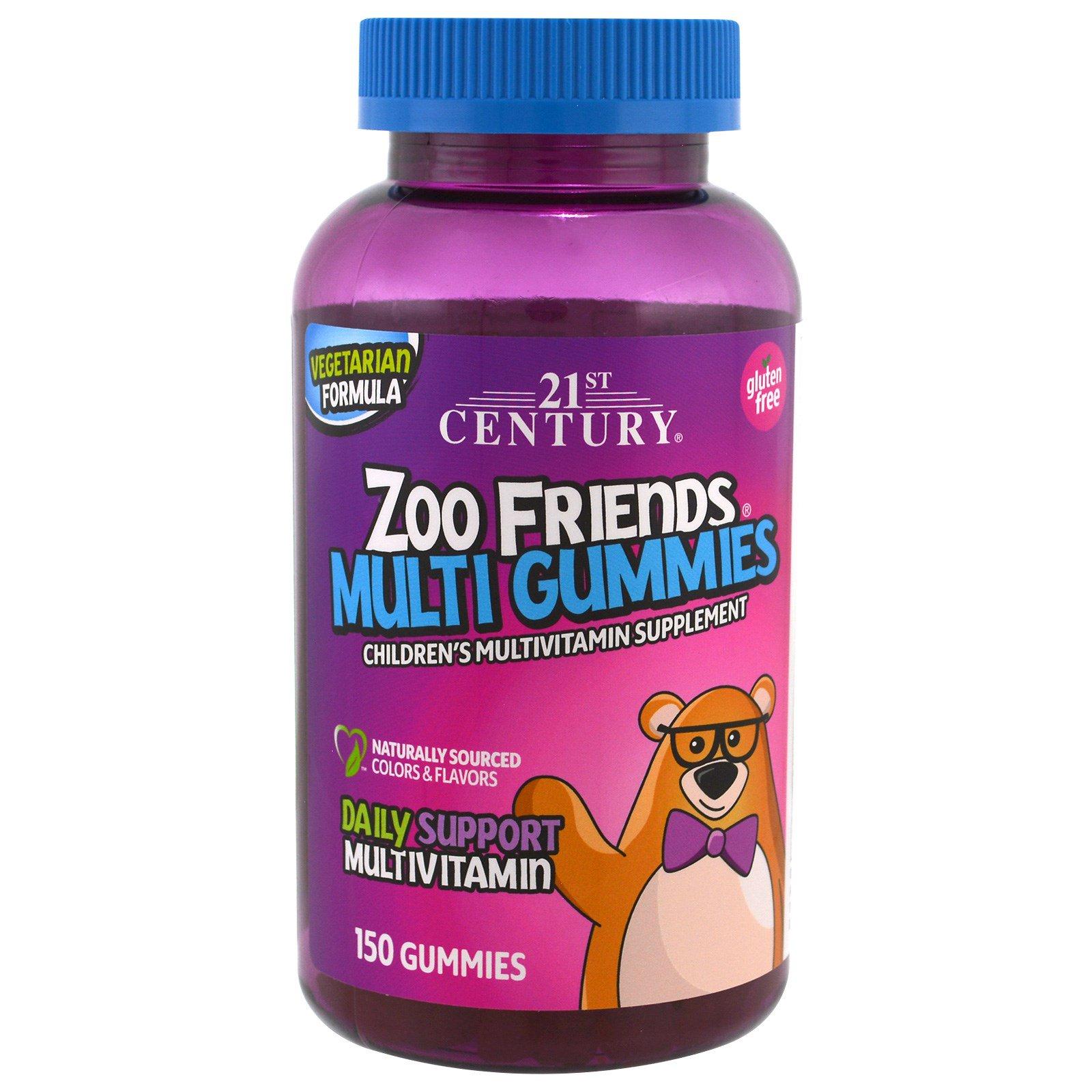 21st Century, Друзья из зоопарка, мультивитамины в форме мишек, детская мультивитаминная добавка, 150 мишек