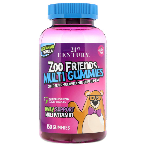 21st Century, Zoo Friends Multi Gummies, Suplemento de Vitaminas Multiples para Niños, 150 Gomitas