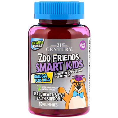 21st Century Zoo Friends Smart Kids Omega Plus DHA, 60 Gummies